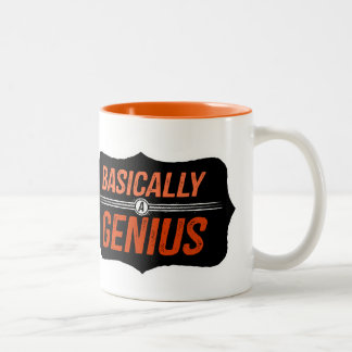 Básicamente un genio (ningún fondo) taza dos tonos