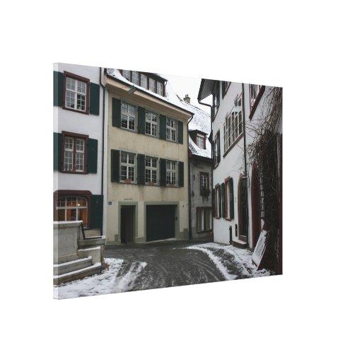 Basilea en invierno, Suiza Lienzo Envuelto Para Galerias