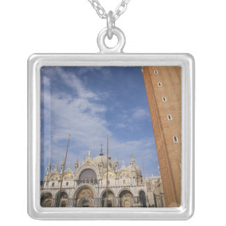 Basilica and Bell Tower St Mark's Square Venice Silver Plated Necklace