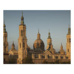 Basilica de Nuestra Senora de Pilar, el río Ebro Póster
