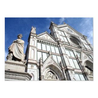 """Basílica de Santa Croce con la estatua de Dante Invitación 5"""" X 7"""""""