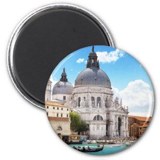 Basílica de Santa María en Venecia, Italia Imán Redondo 5 Cm