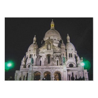 """Basílica del Sacré Cœur, París en la noche Invitación 5"""" X 7"""""""