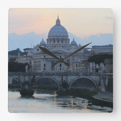 Basilica in Rome, Italy Square Wallclocks