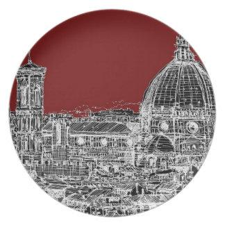 Basílica marrón roja plato de cena