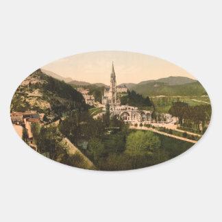 Basilica of Notre Dame, Lourdes, France Oval Sticker