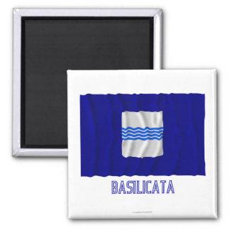 Basilicata waving flag with name 2 inch square magnet
