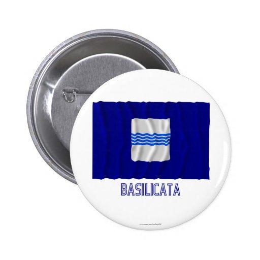 Basilicata waving flag with name 2 inch round button