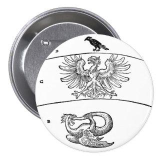 Basilisco, Eagle y botón de Pinback del cuervo Pin