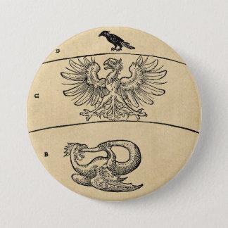 Basilisk and Eagle Sepia Badge Pinback Button