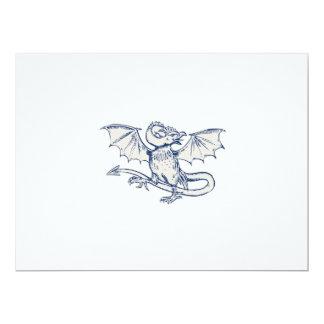Basilisk Crowing Etching 6.5x8.75 Paper Invitation Card