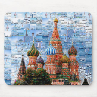 Basil's Cathedral collage - russia - kremlin Mouse Pad