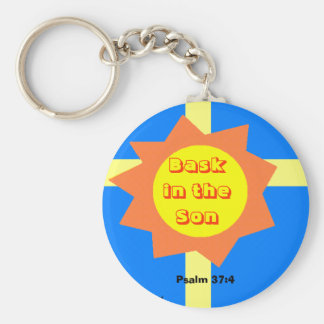 Bask in the Son Basic Round Button Keychain
