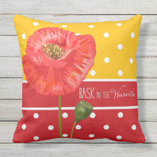 Bask in the Warmth Poppies and Polka Dots Outdoor Pillow