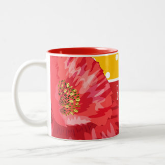 Bask in the Warmth Yellow Polka Dot with Poppy Two-Tone Coffee Mug