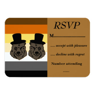 Baskerville Bears Pride RSVP for Gay Weddings 3.5x5 Paper Invitation Card