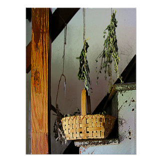 Basket and Drying Herbs Poster