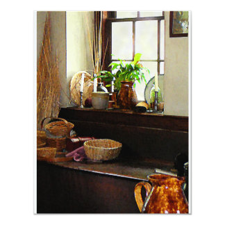 Basket and Plants by Window 4.25x5.5 Paper Invitation Card