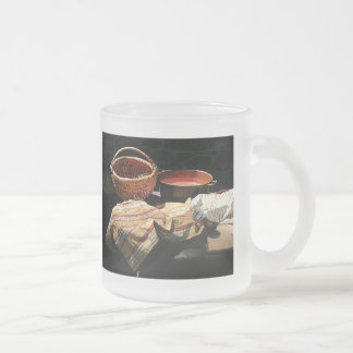 Basket and Pot of Soup Frosted Glass Coffee Mug