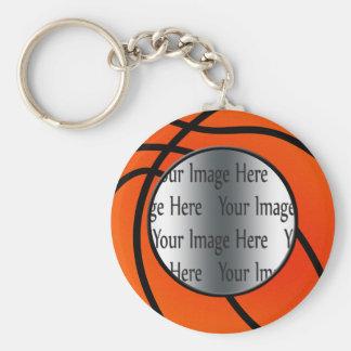 basket ball photo basic round button keychain