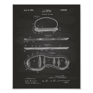 Basket Ball Shoe 1934 Patent Art Chalkboard Poster