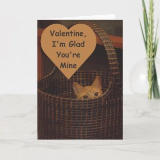 Basket Case Cat Valentine Greeting card