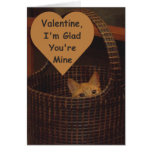 Basket Case Cat Valentine Greeting Greeting Card