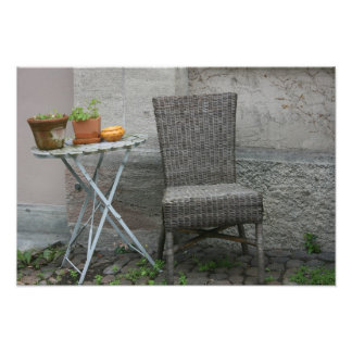Basket chair and plants art photo