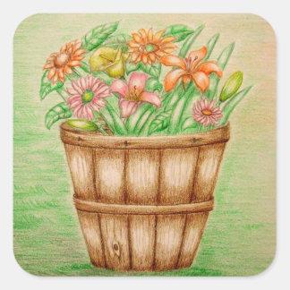 basket flowers square sticker