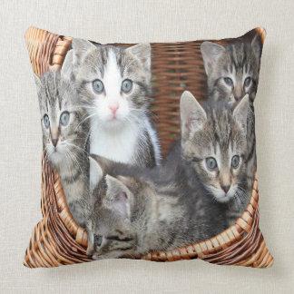 Basket Full Of Kittens Throw Pillow
