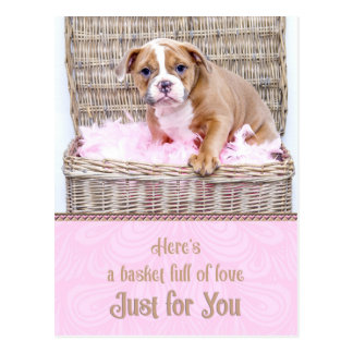 Basket Full of Love Bulldog Puppy Postcard