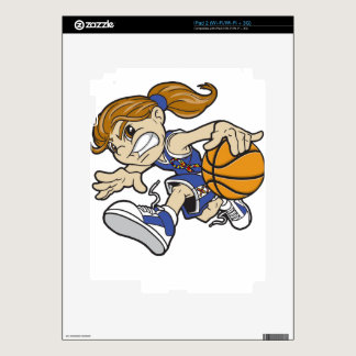 BASKET GIRL AUTISM RIBBON DECALS FOR iPad 2