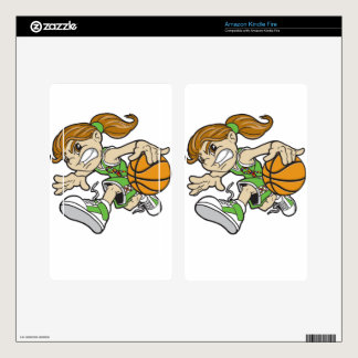 BASKET GIRL AUTISM RIBBON KINDLE FIRE DECALS