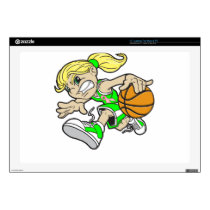 "BASKET GIRL PINK RIBBON 17"" LAPTOP SKIN"