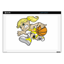 BASKET GIRL PINK RIBBON DECAL FOR LAPTOP