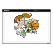 BASKET GIRL PINK RIBBON LAPTOP SKIN