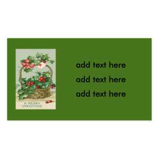 Basket Holly Winterberry Red Ribbon Business Card