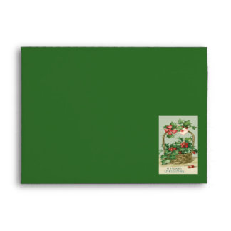 Basket Holly Winterberry Red Ribbon Envelope