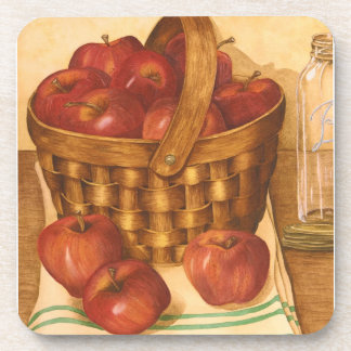 Basket of Apples Still Life - Set of Coasters