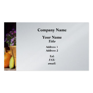 Basket of Asters With Pumpkin and Gourd - Platinum Business Card