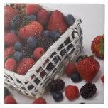 Basket of berries large square tile