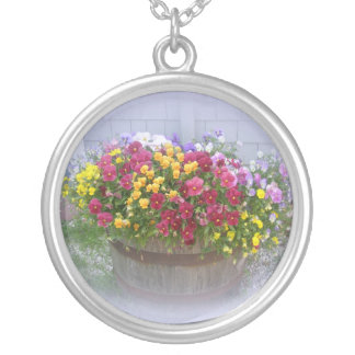 Basket of Blossoms Silver Plated Necklace