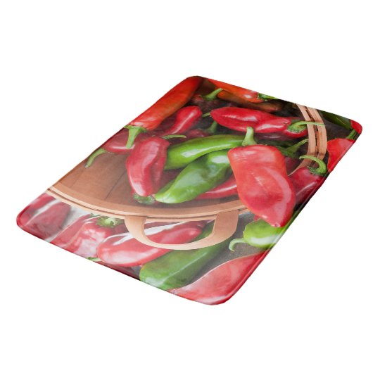 Basket Of Chili Peppers Kitchen Rug Mat Home Decor