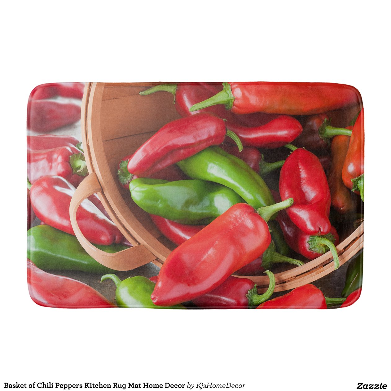 Basket Of Chili Peppers Kitchen Rug Mat Home Decor Bath
