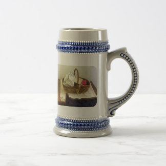 Basket of Cloth and Measuring Tape 18 Oz Beer Stein
