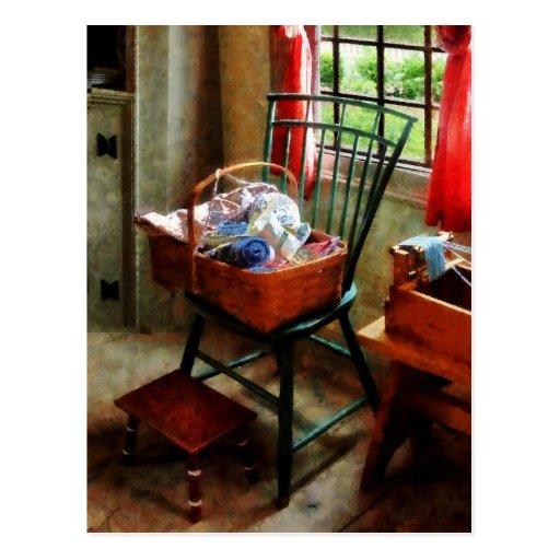 Basket of Cloth and Yarn on Chair Postcard