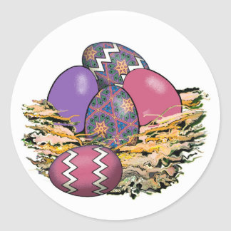 Basket of Colorful Easter Eggs 06 Classic Round Sticker