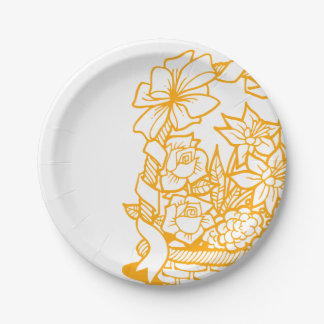 Basket of Easter Eggs Orannge 7 Inch Paper Plate