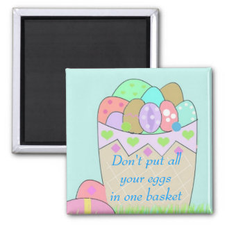 Basket of Easter Eggs with Saying Magnet