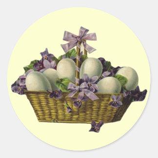 Basket of Eggs & Violets Classic Round Sticker